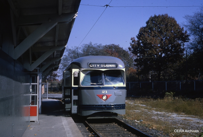 PCC 21 at Franklin Avenue in November 1964. (Photographer Unknown - CERA Archives)