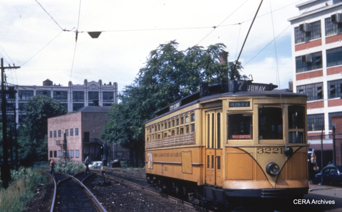 Car 3221 at Orange Street on July 11, 1952. (Photographer Unknown - CERA Archives)