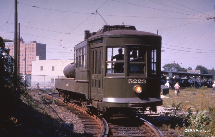 Work car 5223 at Franklin Avenue on September 7, 1964. (Photographer Unknown - CERA Archives)