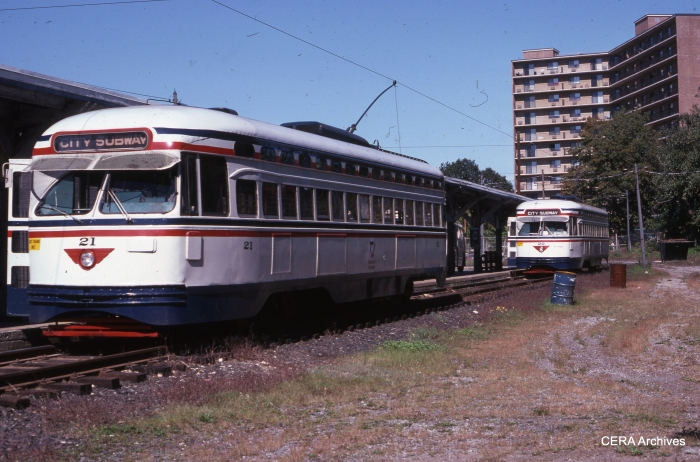 PCCs 21 and 22 at Franklin Avenue on October 9, 1978. (Photographer Unknown - CERA Archives)