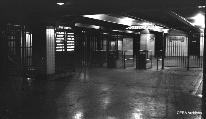 View showing the mezzanine at the Newark City Subway's Pennsylvania Station Terminal on July 2, 1955. (Photographer Unknown - CERA Archives)