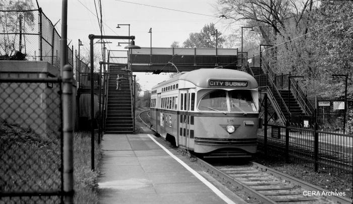 PCC 18 at Davenport Avenue in 1954. (John Brinckmann Photo - CERA Archives)
