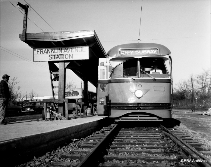 PCC 10 at Franklin Avenue in the 1950s. (Photographer Unknown - CERA Archives)