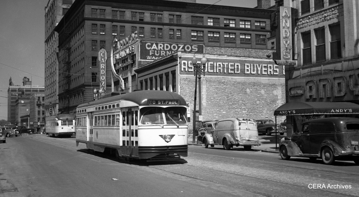 Twin City Rapid Transit PCC 304 on 5th near Hennepin on May 2, 1947. Newark purchased 30 PCCs from TCRT in 1953 for use on the City Subway. In the Twin Cities, these were 2-man, center entrance cars, while Newark operated them as 1-man. St. Louis Car Co. built these in 1946. (Richard H. Young Photo - CERA Archives)