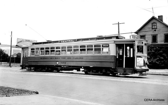 Subway-surface car 3204 on Route 23 in the late 1940s. (Photographer Unknown - CERA Archives)
