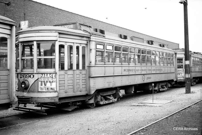 Car 2690 is typical of the equipment Newark used before the arrival of the PCCs in 1953. (Photographer Unknown - CERA Archives)