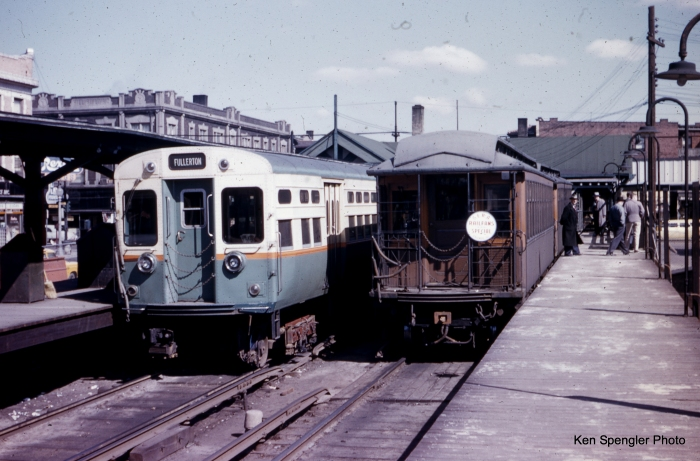 The old meets the new at Kimball on a late 1950s CERA wood car fantrip. (Ken Spengler Photo)