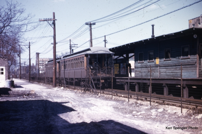 "A two-car train of wooden ""L"" cars at Francisco on the Ravenswood (today's Brown Line) in the 1950s. The historic 1907 clapboard station house was preserved in the 2006-2007 station renovation. (Ken Spengler Photo)"