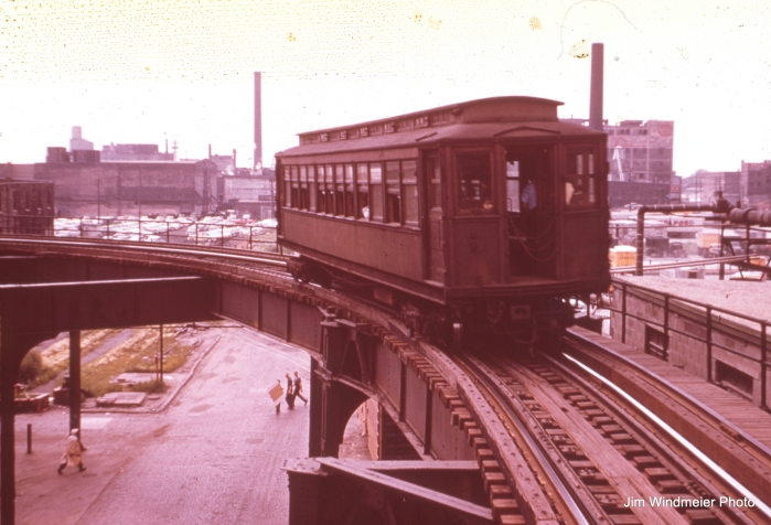 "A single wooden ""L"" car on the Stock Yards branch was typical in the 1950s, when this picture was taken by Jim Windmeier."