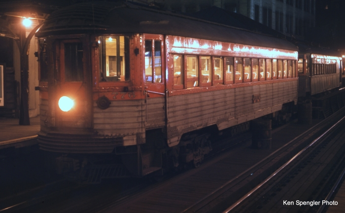 "A rare night shot of a North Shore ""Silverliner"" in Chicago's Loop. (Ken Spengler Photo)"