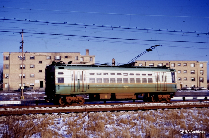 CTA single car unit 29 is northbound approaching Dempster on February 3, 1968. (Stephen M. Scalzo Photo - CERA Archives)