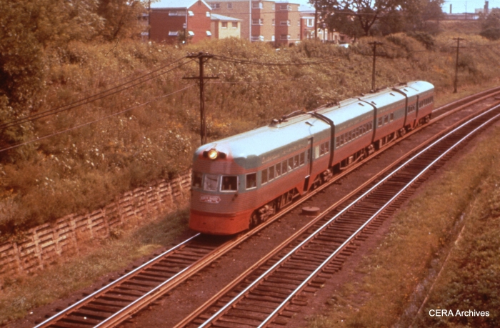 """An Electroliner """"at speed"""" in the Evanston open cut. (CERA Archives)"""