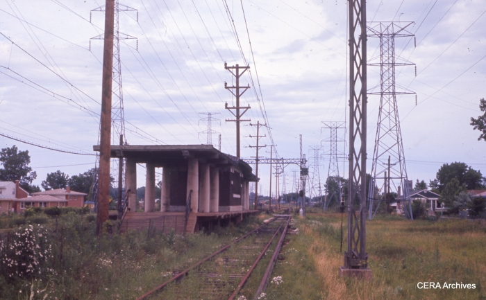 Another view of the derelict North Shore right-of-way at Crawford Avenue in July 1963. This station and some others were removed within a few months of the Swift's opening. (CERA Archives)