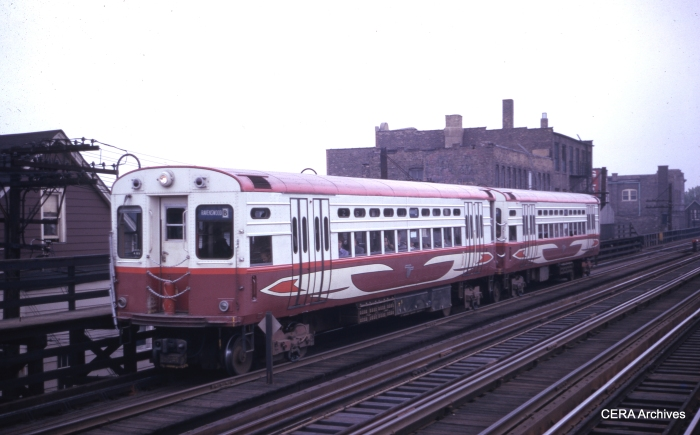 CTA experimental high-speed car 2 heads up a Ravenswood (today's Brown Line) train in December 1962. Less than two years later, the four high-speed cars would start service on the Skokie Swift. (CERA Archives)