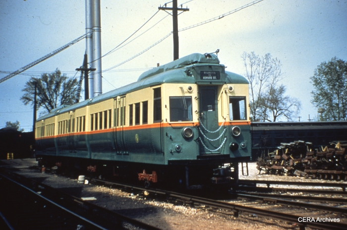 """One of the four articulated 1947-48 """"L"""" cars, signed for Evanston service, as it looked prior to being fitted with pantographs for Skokie Swift service. (CERA Archives)"""