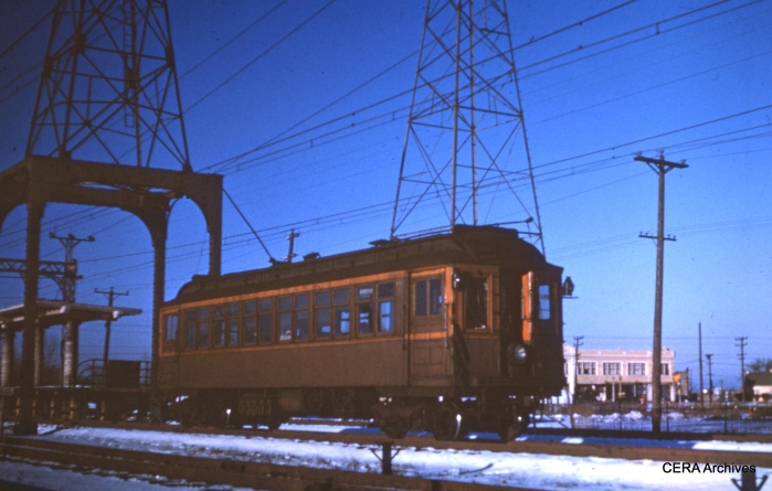 Rapid transit service on the Niles Center branch ran from March 28, 1925 to March 27, 1948, before being replaced by the CTA 97 bus. Here, a southbound car leaves Dempster in this winter view. (CERA Archives)
