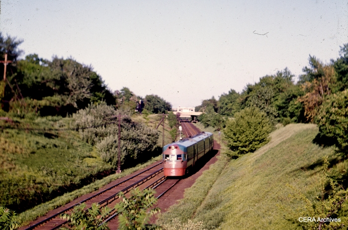 An Electroliner in the Evanston open cut in July 1962. (CERA Archives)