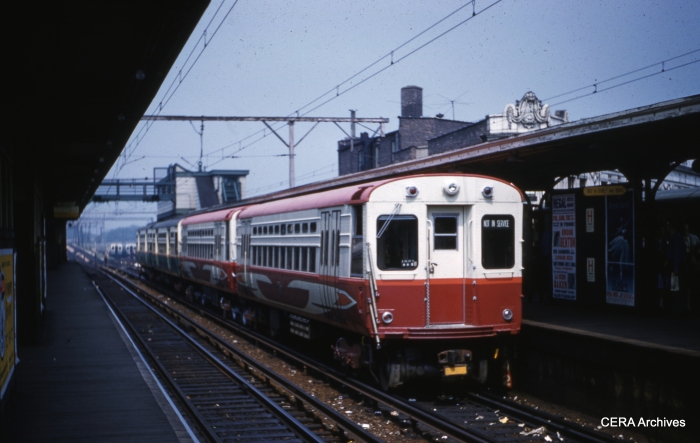 A pair of CTA high-speed cars, making up part of a train in this August 1960 view at Howard. Cars 1-4 would be the first used in Swift service in 1964. (CERA Archives)