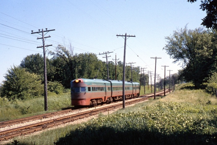 Electroliner Train #805 (801-802) NB College Avenue 12 Jun 1962 - Tom Sharratt photo (some blur, but that reflects the speed of the train . . . at least I like to think so.)