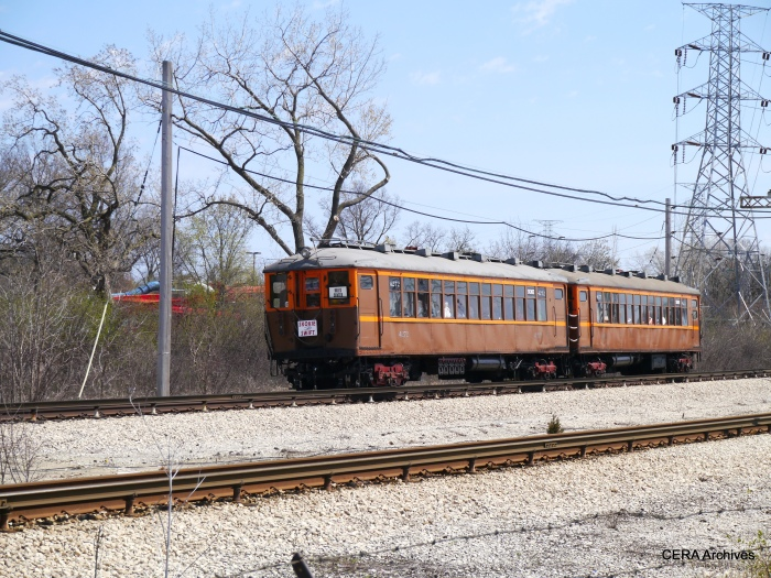 The special train prepares to cross Oakton in Skokie.
