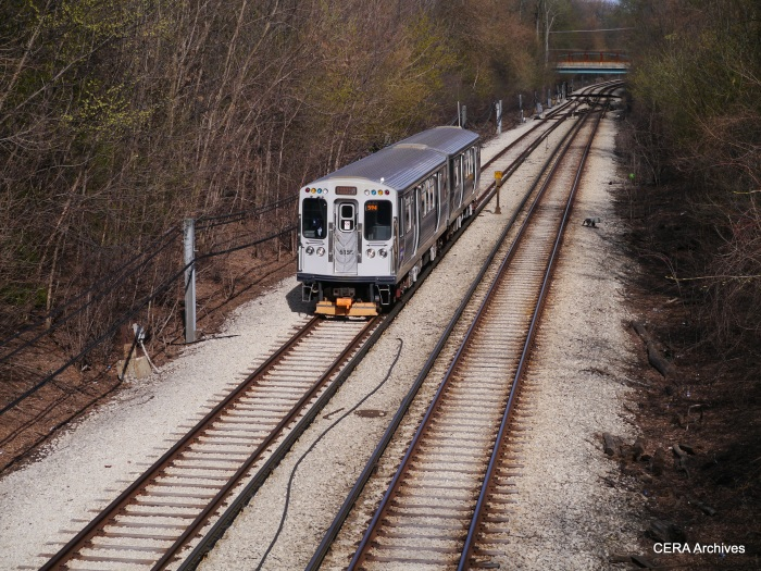 A regular service train westbound at Ridge in Evanston. By this time, the historical cars were back at Skokie Shops.