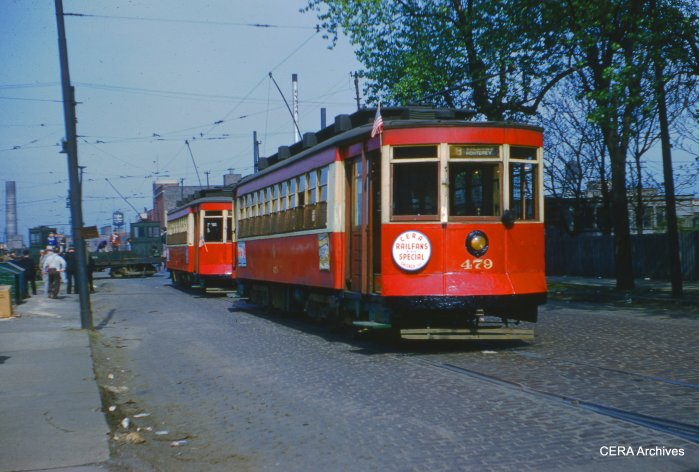 CTA Red Pullmans 479 and 473 on the May 16, 1954 farewell fantrip. (CERA Archives)