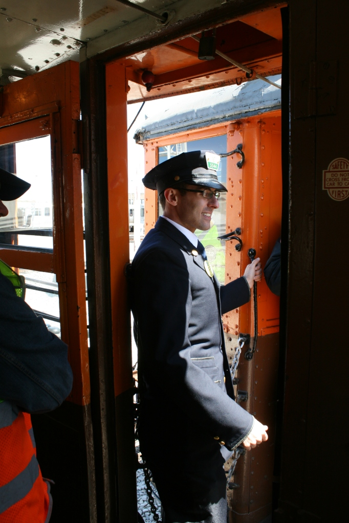 Graham Garfield looking spiffy in his CTA conductor uniform... Is he trying to change from overhead to third rail? (Bill Becwar Photo)