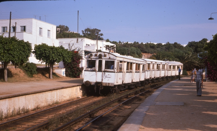 SNT/TGM cars 1-44-12 in Tunis at La Corniche on July 26, 1976. (Ray DeGroote Photo)