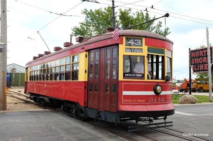 Perhaps CSL streetcar 3142, also out on the trolley loop, used to meet up with C&WT 141 at Cermak and Kenton.