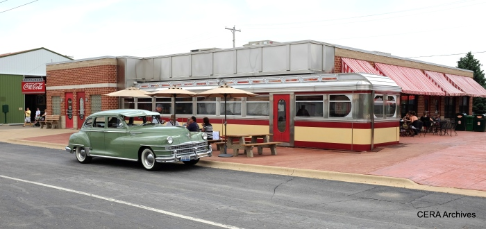 A 1948 Chrysler parked outside the IRM Diner.