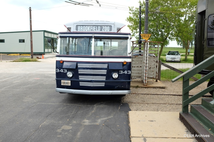 Montebello Municipal Lines 17, repainted as the Chicago and West Towns 343, was built by Ford in 1944.