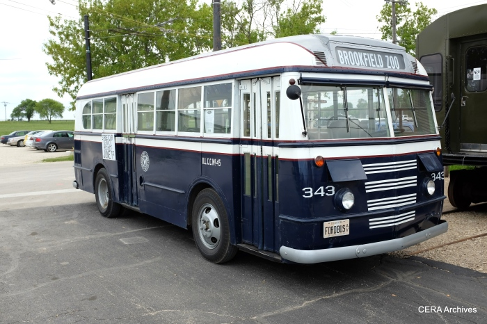 "Although not an actual C&WT bus, the ""343"" is the closest possible recreation of the real thing, and was spotted at the 50th Avenue station for the event."