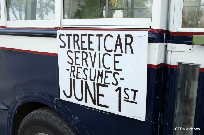 The sign on 343 harkens back to the signage West Towns used on streetcars and buses in 1948, when trolley service ended.