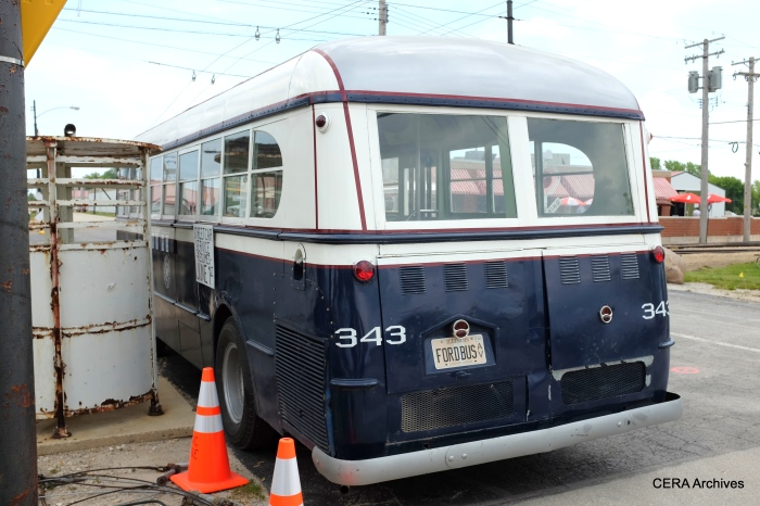 A rear view of the 1944 Ford bus.