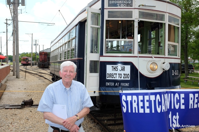 George Kanary with car 141, representing the Electric Railway Historical Society.