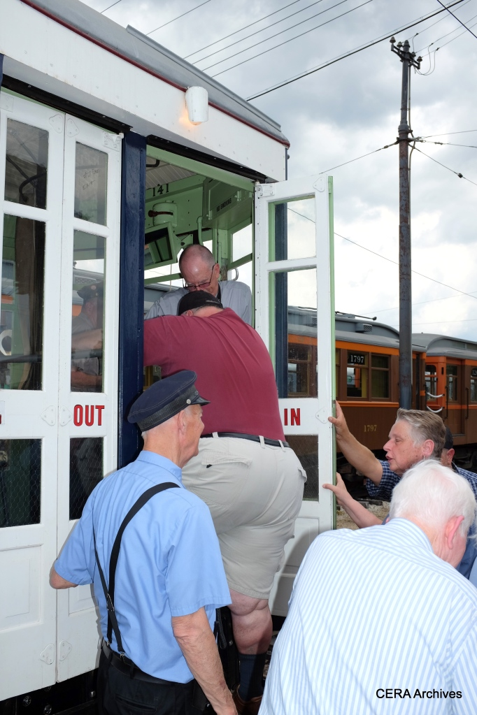Fans board the 141 for its first trip in revenue service since 1948.