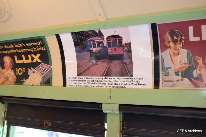 Car 141 is fittingly decorated with period photos and signage.