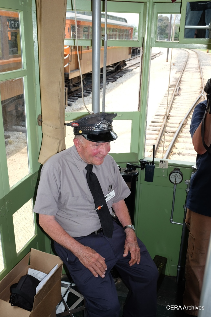 Frank Sirinek at the controls of 141. He spearheaded the decades-long restoration of the car.
