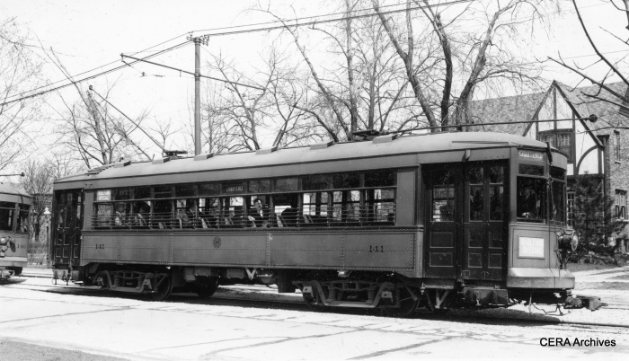 Chicago & West Towns Railways 141 on a CERA fantrip, April 23, 1939. (Lamar M. Kelley Photo)