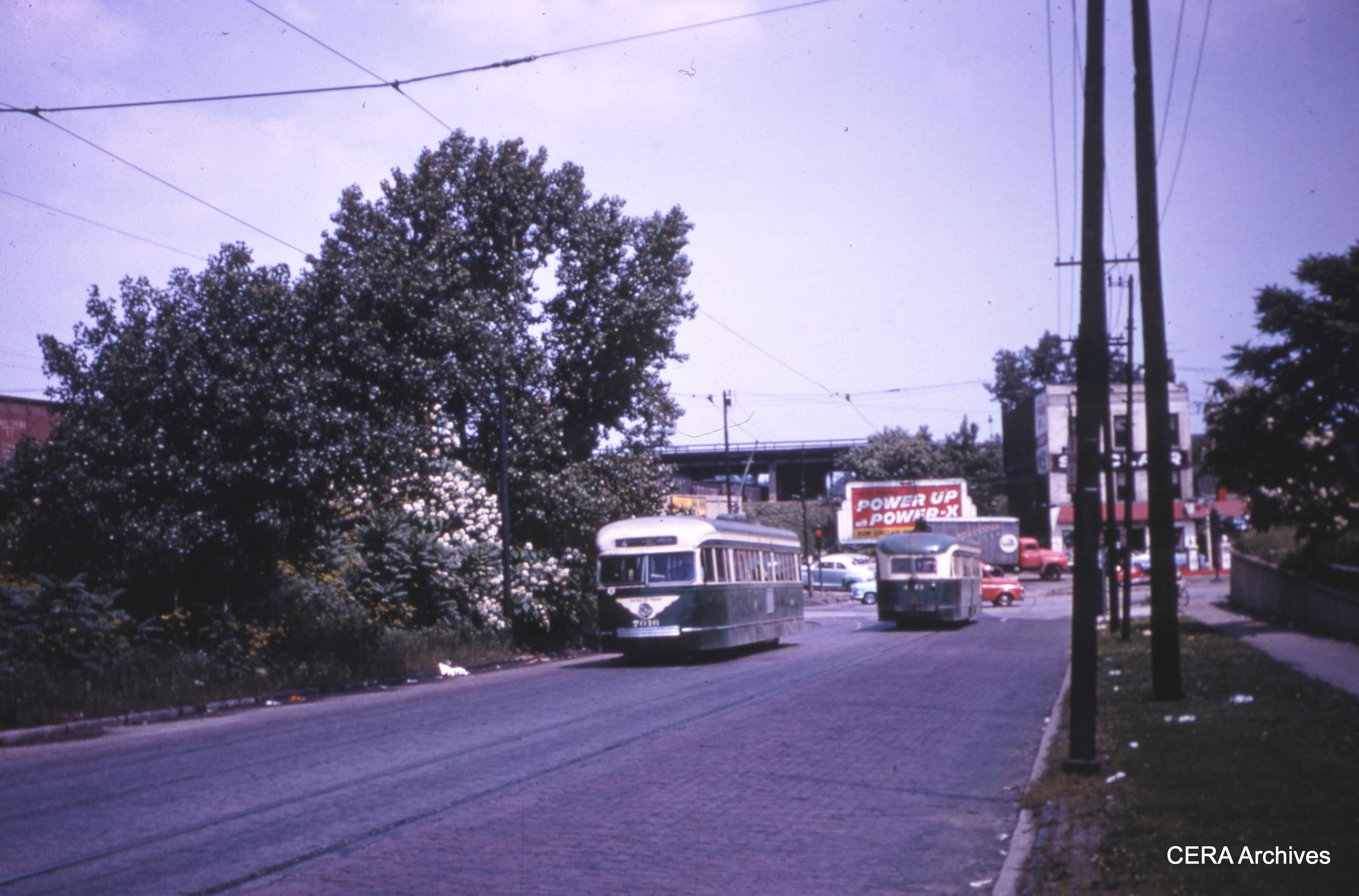 CTA Pre War PCC 7016 On Cottage Grove Looking North Toward 95th Street The Car Will Enter Private Right Of Way Paralleling Roadway Just Behind