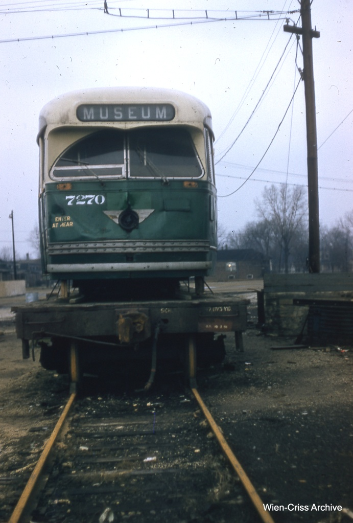 Renumbered Chicago PCC 7270, as it looked on February 10, 1957 at South Shops. The car is ready for shipment to St. Louis Car Company. (Bill Hoffman Photo - Wien-Criss Archive)