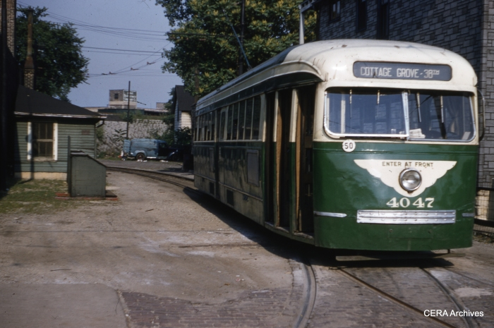 In CTA colors, pre-war PCC 4047 prepares to leave the turnback loop at Cottage Grove and 72nd in this June 1955 photo, just before the end of streetcar service on route 4. (Richard C. Cerne Photo - CERA Archives)