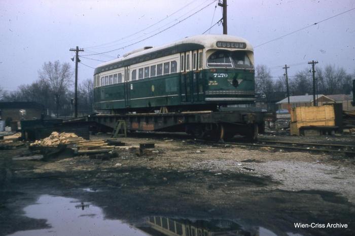 """Another view of """"new"""" 7270, loaded on a flatcar on February 10, 1957. (Bill Hoffman Photo - Wien-Criss Archive)"""