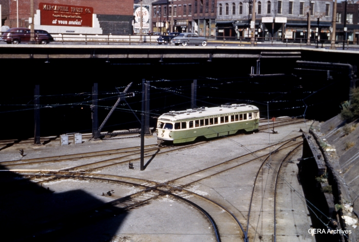 Illinois Terminal double-end PCC 452 at 12th and Washington in St. Louis, leaving the short subway on its way to Granite City on October 12, 1952.