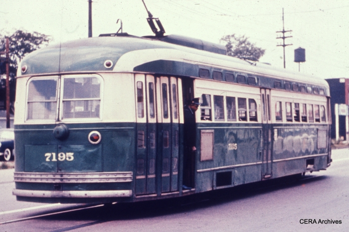 Post-war PCC 7195 on the wye at 81st and Halsted. Chicago's PCCs were unique in having three sets of doors, which allowed them to scoop up lots of passengers. The conductor would then collect fares while the car was moving.