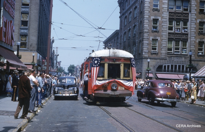 "Some cities commemorated the end of trolley service with parades, ceremonies, pomp and circumstance. An example is Lehigh Valley Transit's car 912, the ""last car"" in service in Allentown PA on June 8, 1953. Chicago took no special note of the end of streetcar service five years later. (Charles Houser Photo - CERA Archives)"