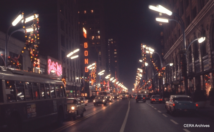 State Street at night in December 1959.