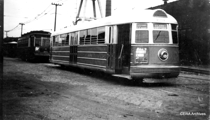 Pullman-built experimental pre-PCC car 4001 at South shops in the late 1930s.  (R. J. Anderson Photo – CERA Archives)