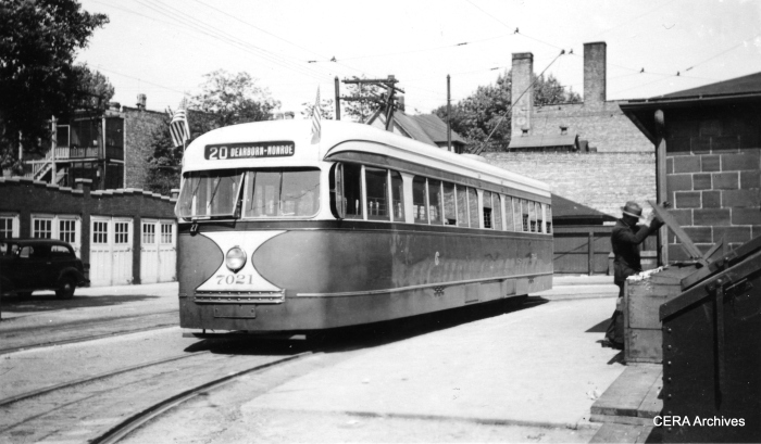 Pre-war PCC 7021 at Madison and Austin circa 1940. (R. J. Anderson Photo - CERA Archives)