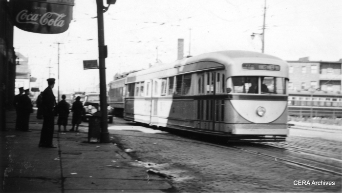 Experimental CSL pre-PCC 7001 at Clark and Schreiber by the Devon Station (carbarn) in the late 1930s. (R. J. Anderson Photo - CERA Archives)